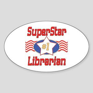 Superstar Librarian Oval Sticker