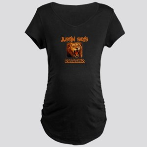 Justin Says Raaawr (Lion) Maternity Dark T-Shirt