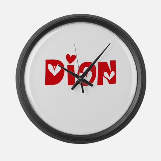 Dion Surname Heart Design Large Wall Clock