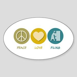 Peace Love Filing Oval Sticker