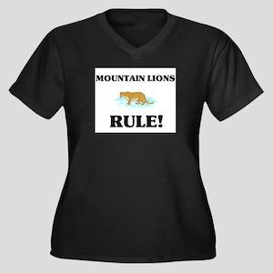Mountain Lions Rule! Women's Plus Size V-Neck Dark
