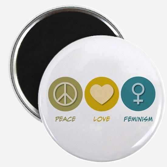 "Peace Love Feminism 2.25"" Magnet (10 pack)"