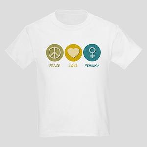 Peace Love Feminism Kids Light T-Shirt