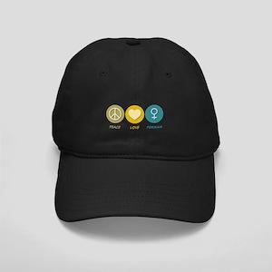 Peace Love Feminism Black Cap