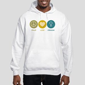 Peace Love Feminism Hooded Sweatshirt