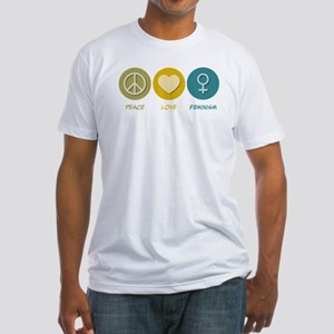 Peace Love Feminism Fitted T-Shirt