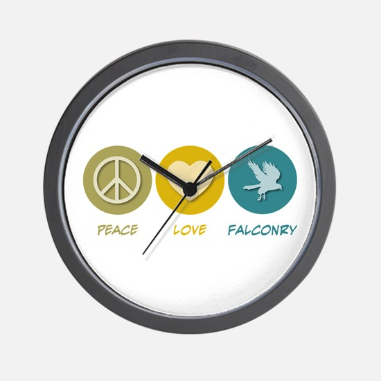 Peace Love Falconry Wall Clock