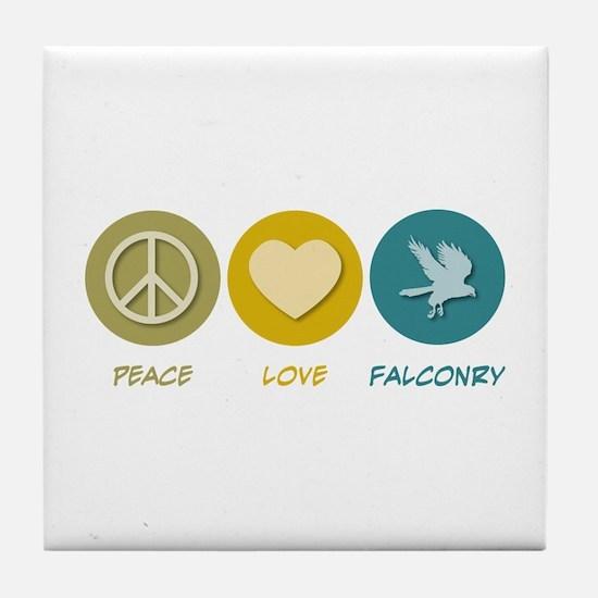 Peace Love Falconry Tile Coaster