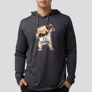 Dabbing Pug with Wine, Funny M Long Sleeve T-Shirt