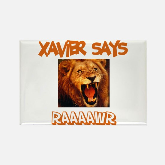 Xavier Says Raaawr (Lion) Rectangle Magnet