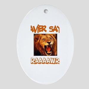Xavier Says Raaawr (Lion) Oval Ornament