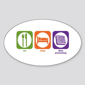 Eat Sleep Data Processing Oval Sticker