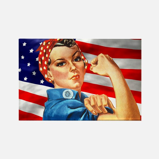 Rosie the Riveter with US Flag Background Rectangl