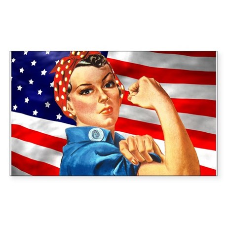Rosie the Riveter with US Flag Background Sticker