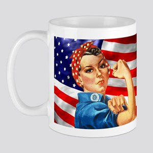 Rosie the Riveter with US Flag Background Mug