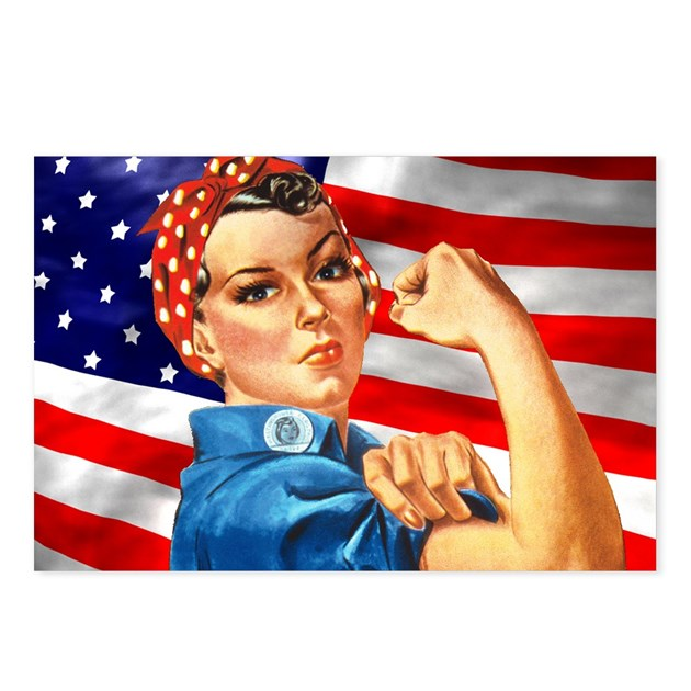 Rosie The Riveter With US Flag Background Postcard By