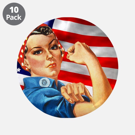 "Rosie the Riveter with US Flag Background 3.5"" But"