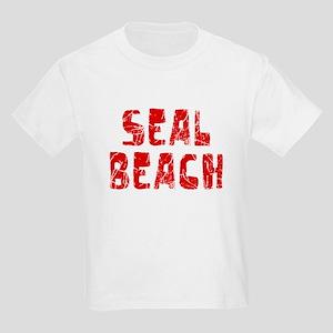 Seal Beach Faded (Red) Kids Light T-Shirt