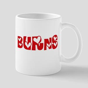 Burns Surname Heart Design Mugs