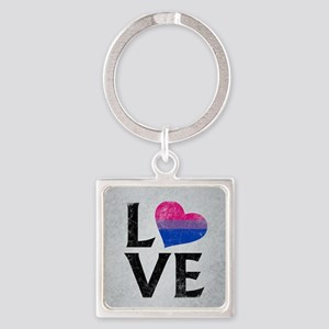 Bisexual Pride Flag Heart Stacked Love Square Keyc