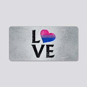Bisexual Pride Flag Heart S Aluminum License Plate