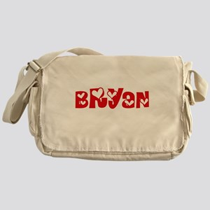 Bryan Surname Heart Design Messenger Bag