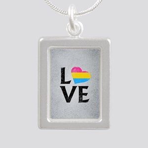 Pansexual Pride Flag Hea Silver Portrait Necklace