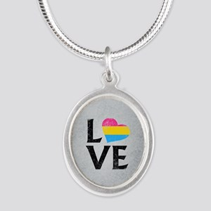 Pansexual Pride Flag Heart St Silver Oval Necklace