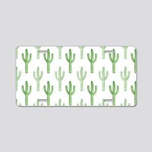 Cute Watercolor Cactus Pattern Aluminum License Pl