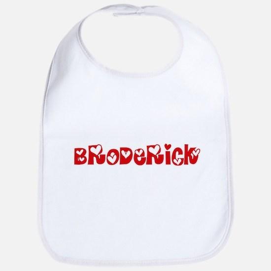 Broderick Surname Heart Design Baby Bib