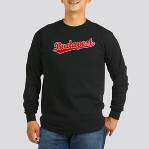 Retro Budapest (Red) Long Sleeve Dark T-Shirt