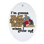 Play In The Dirt Oval Ornament