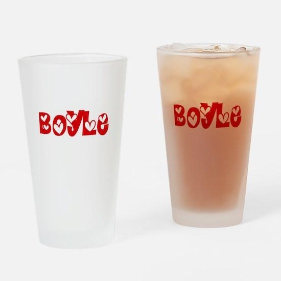 Boyle Surname Heart Design Drinking Glass