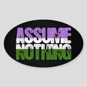 Assume Nothing Genderqueer Pride Oval Sticker