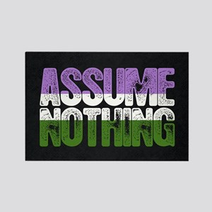Assume Nothing Genderqueer Pride Rectangle Magnet