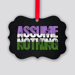 Assume Nothing Genderqueer Pride Picture Ornament