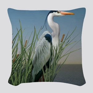 Heron Watch Woven Throw Pillow