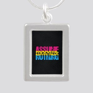 Assume Nothing Pansexual Silver Portrait Necklace