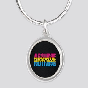Assume Nothing Pansexual Prid Silver Oval Necklace