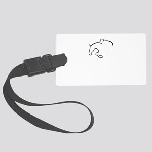 horse jumping Large Luggage Tag
