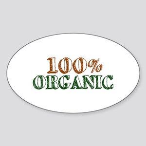100% Organic Oval Sticker