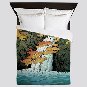 Senju Waterfall, Akame - Kawase Hasui Queen Duvet