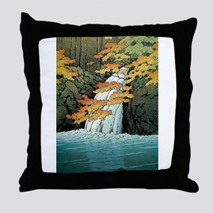 Senju Waterfall, Akame - Kawase Hasui Throw Pillow