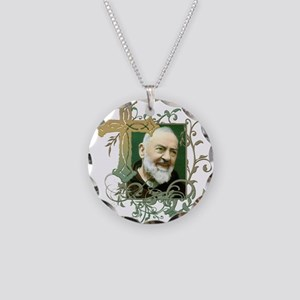 Padre Pio Necklace Circle Charm