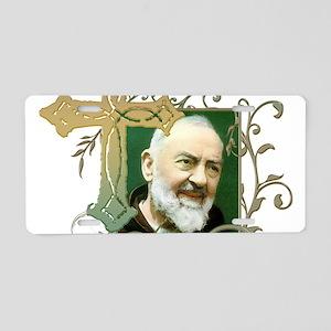 Padre Pio Aluminum License Plate