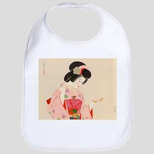 Vintage Japanese Geisha Lady Woman Girl O Baby Bib