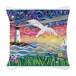 Lighthouse Seagull Woven Throw Pillow