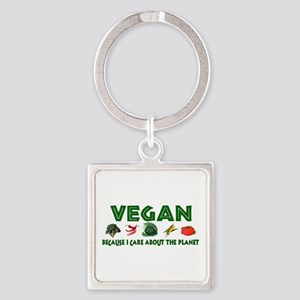 Vegan For The Planet Square Keychain