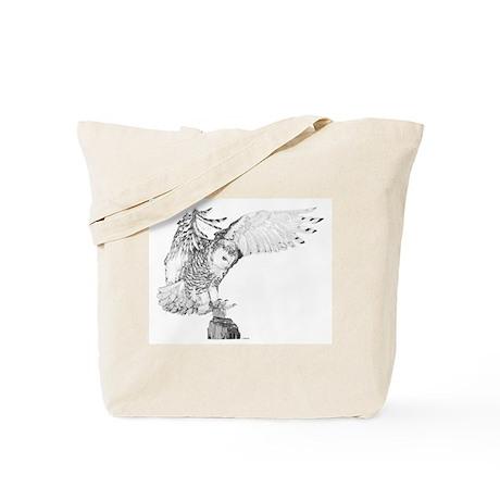 Snowy Owl Landing, Tote Bag