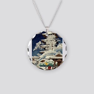 Cool Japanese Oriental Snow Necklace Circle Charm